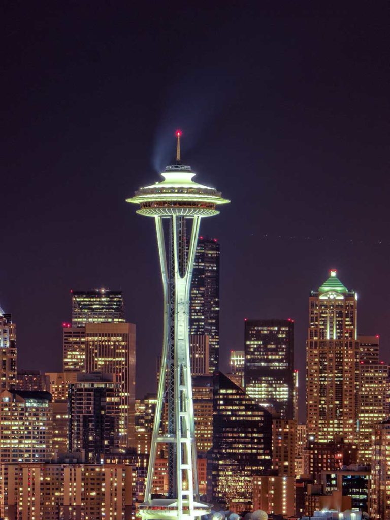 Space Needle at night in Seattle